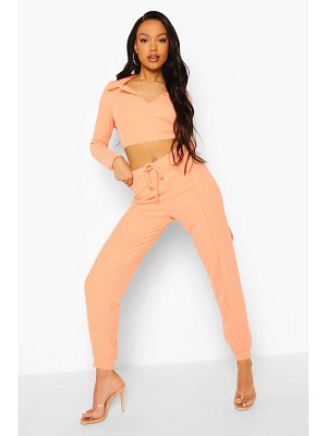 Boohoo Crinkle Rib Exposed Seam Crop And Joggers