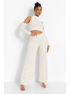Boohoo Crinkle Rib Exposed Seam Crop And Pants