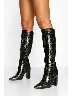 Boohoo Croc Block Heel Knee High Boots