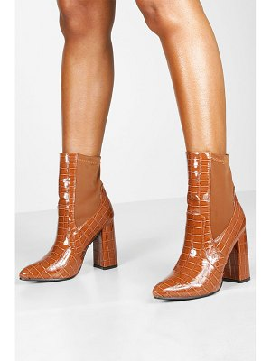 Boohoo Croc Pointed Toe Block Heel Sock Boots