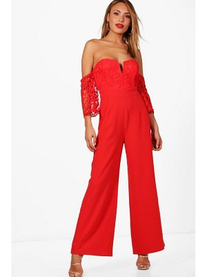 Boohoo Crochet Off The Shoulder Jumpsuit