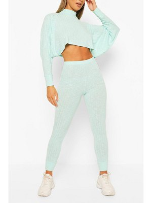 Boohoo Crop Batwing Hoody Knitted Lounge Set