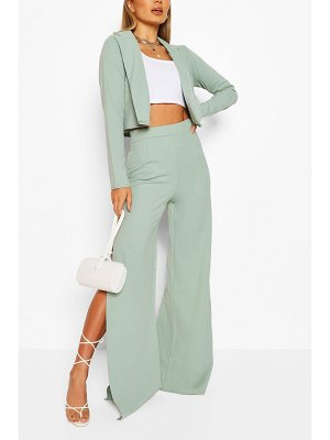 Boohoo Crop Blazer & Split Wide Leg Trouser Suit Set