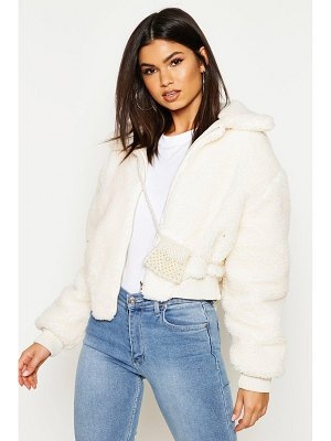 Boohoo Crop Faux Teddy Fur Bomber Jacket