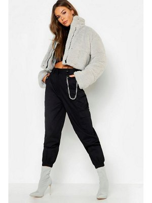 Boohoo Crop Fleece Oversize Puffer