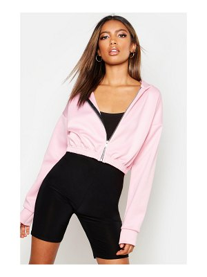 Boohoo Crop Hooded Bomber Jacket
