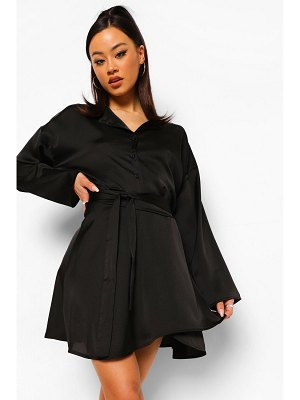 Boohoo Crop Shirt & Tie Waist Skirt