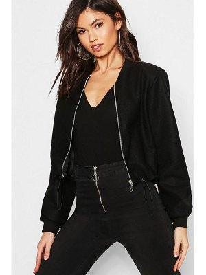 Boohoo Crop Wool Look Bomber Jacket