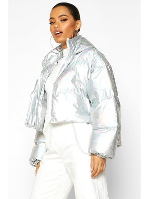 Boohoo Cropped Holographic Puffer Jacket