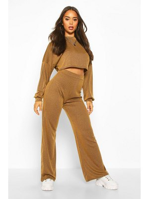 Boohoo Cropped Slouchy Rib Top & Trouser Co-ord