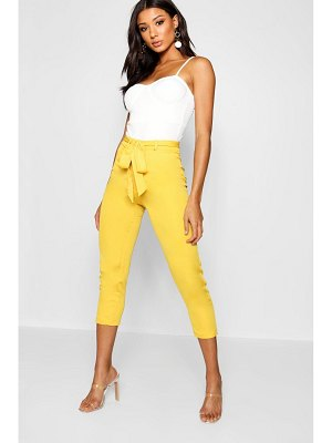 Boohoo Cropped Tie Waist Slim Fit Pants