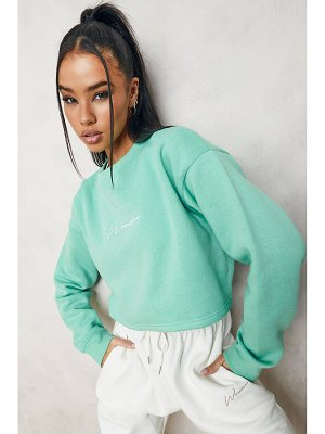 Boohoo Cropped Woman Embroidered Sweatshirt