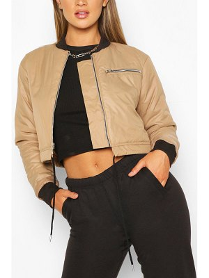 Boohoo Cropped Zip Detail Drawstring Bomber Jacket