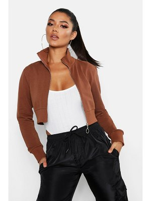 Boohoo Cropped Zip Front Jacket