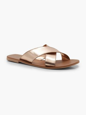 Boohoo Cross Strap Leather Slides