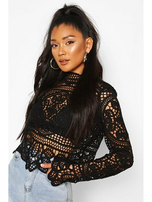 Boohoo Crotchet Lace Long Sleeve Top
