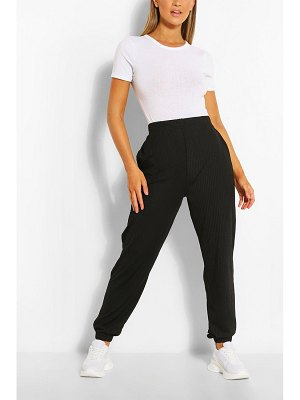 Boohoo Cuffed Hem Rib Jogger With Pockets