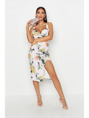 Boohoo Cupped Strappy Floral Split Midi Dress