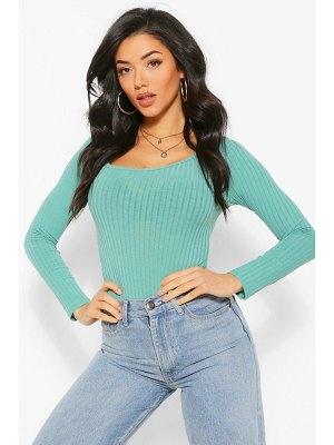 Boohoo Curved Square Knitted Rib One Piece