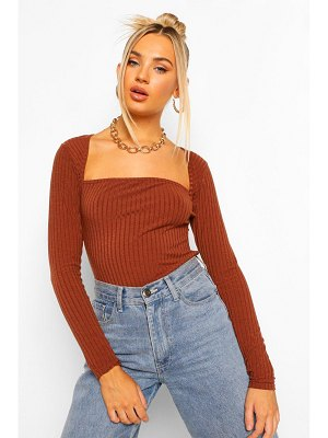 Boohoo Curved Square Neck Knitted Rib One Piece