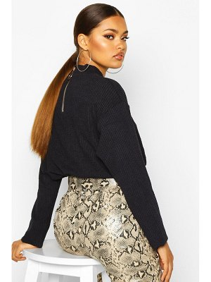 Boohoo Deep Jumbo Ribbed Long Sleeve O Ring Top