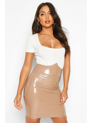 Boohoo Deep Waistband Vinyl Mini Skirt