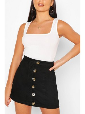 Boohoo Denim Buttons Side Detail Mini Skirt