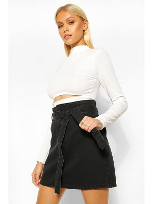 Boohoo Denim Paperbag Belted Denim Skirt