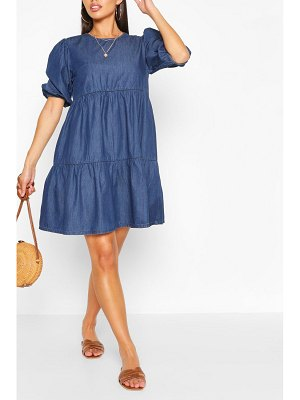 Boohoo Denim Tiered Smock Dress