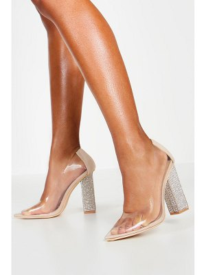 Boohoo Diamante Block Heel Pointed Toe Clear Courts