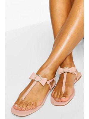 Boohoo Diamante Bow Thong Sandal