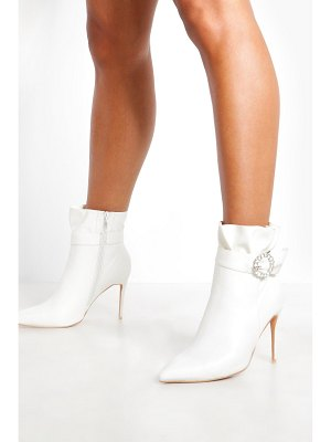 Boohoo Diamante Buckle Shoe Boots