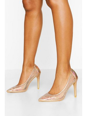 Boohoo Diamante Mesh Detail Court Shoes