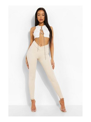 Boohoo Dipped Waist W Ofcl Branded Legging