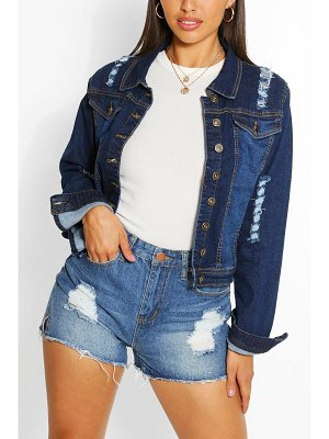 Boohoo Distressed Back Detail Denim Crop Jacket