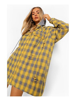 Boohoo Distressed Flannel Oversized Hooded Shirt Dress