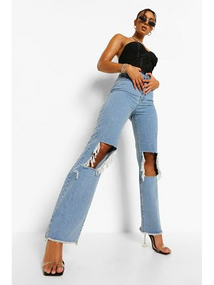 Boohoo Distressed Open Knee Boyfriend Jean