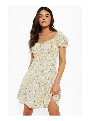 Boohoo Ditsy Floral Puff Sleeve Skater Dress