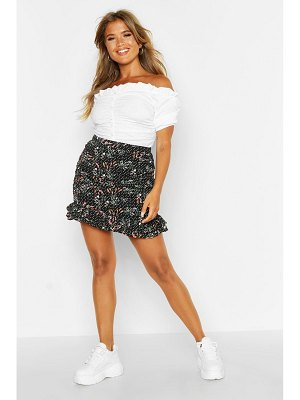 Boohoo Ditsy Floral Rouched Drop Hem Mini Skirt