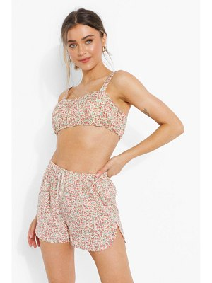 Boohoo Ditsy Floral Ruched Crop Top