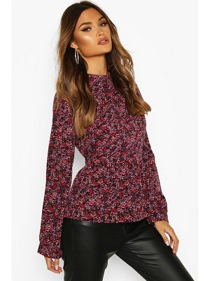 Boohoo Ditsy Floral Ruffle Top