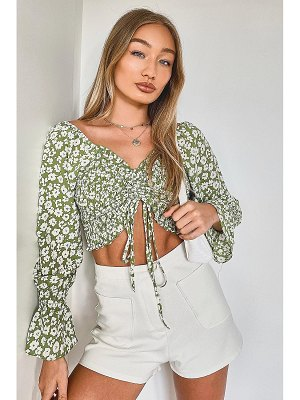 Boohoo Ditsy Floral Shirred Woven Top