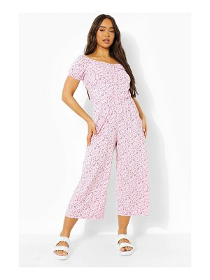 Boohoo Ditsy Floral Sweetheart Culotte Jumpsuit
