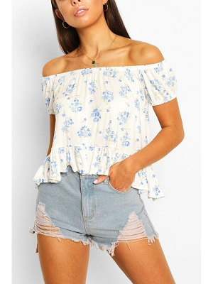 Boohoo Ditsy Off The Shoulder Crop Top