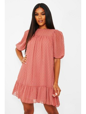 Boohoo Dobby Drop Hem Puff Sleeve Smock Dress