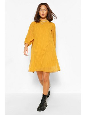 Boohoo Dobby Mesh High Neck Puff Sleeve Smock Dress