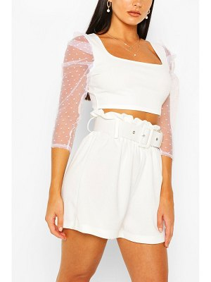 Boohoo Dobby Mesh Square Neck Crop Top