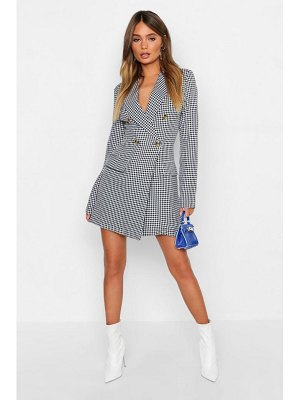 Boohoo Dogtooth Button Blazer Dress