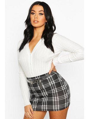 Boohoo Dogtooth flannel Jersey Mini Skirt