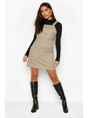 Boohoo Dogtooth flannel Square Neck Pinafore